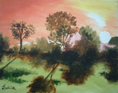 Sun tide,landscape,colorful, red sky,dusk, dawn,oil painting,Acrylic painting, medium,art, fine art,sun, trees, ligh in sky, grass, shadows,