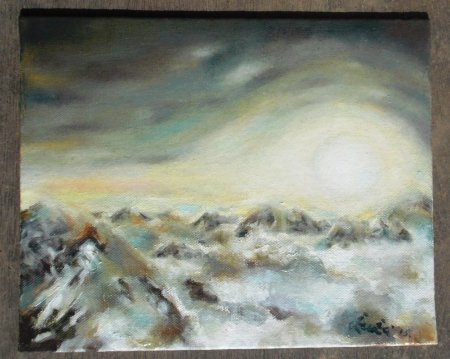 Sun, clouds, rising sun, mountain, sunrise, dawn, sun rays, sun light, beautiful, nature, skyscape,zuza, modern, art, oil painting