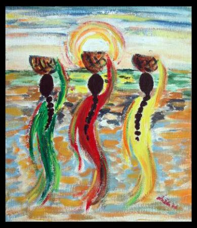 Sisters, Lady with a pot,water pot, lady, woman, girl,Painting art, fine art, Modern, contemporary, painting,sun,  Impressionism, dress, sari, sea, basket, sky,