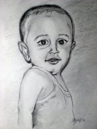 Boy, portrait, drawing, pencil, art, pencil on paper, face, figure, figurative, fine art, Realism, painting, India,