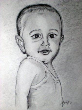 Boy, portrait, drawing, pencil, art, pencil on paper, face, figure, figurative, fine art, Realism, painting, India,