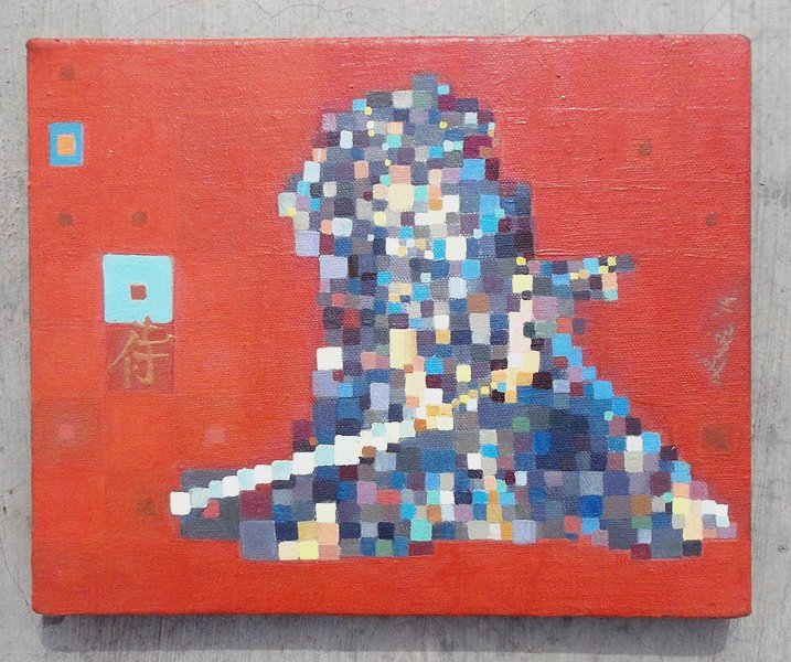 Modern Contemporary Japanese Samurai Sword Cubism Art